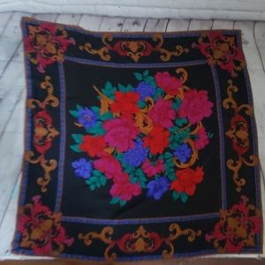 Vintage Colorful Dahlia Flower Square Scarf